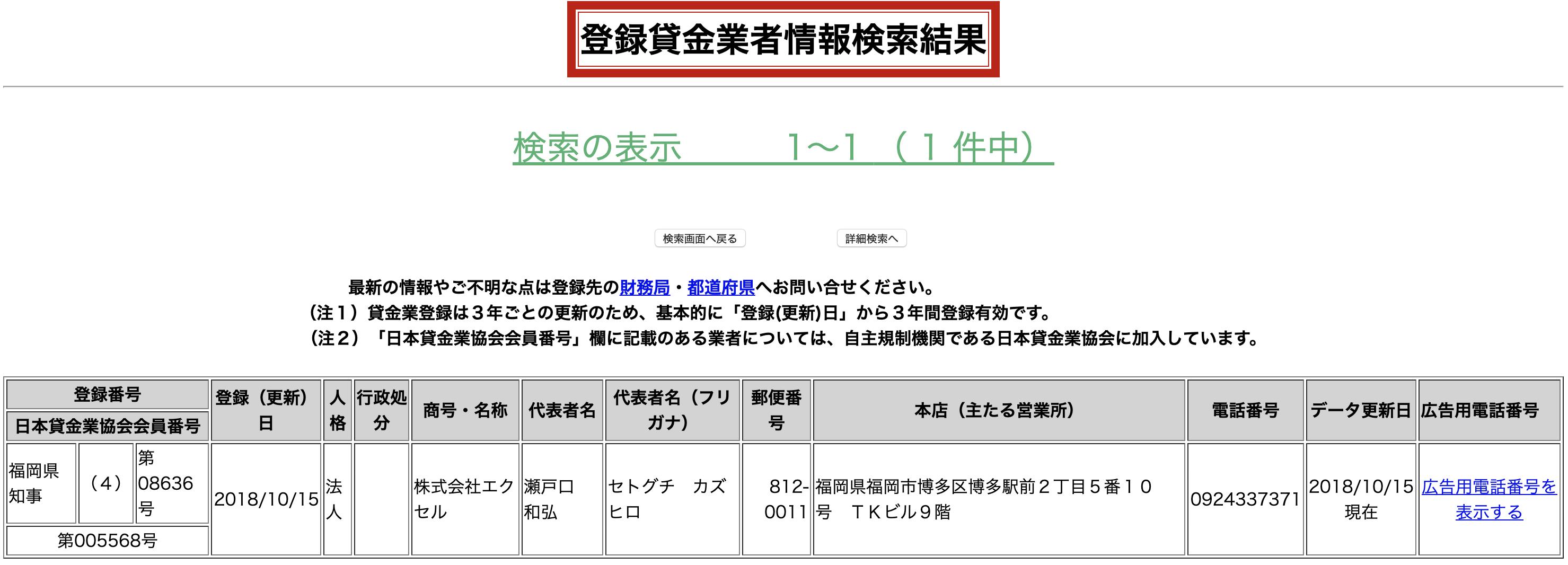 株式会社エクセルの貸金業登録情報