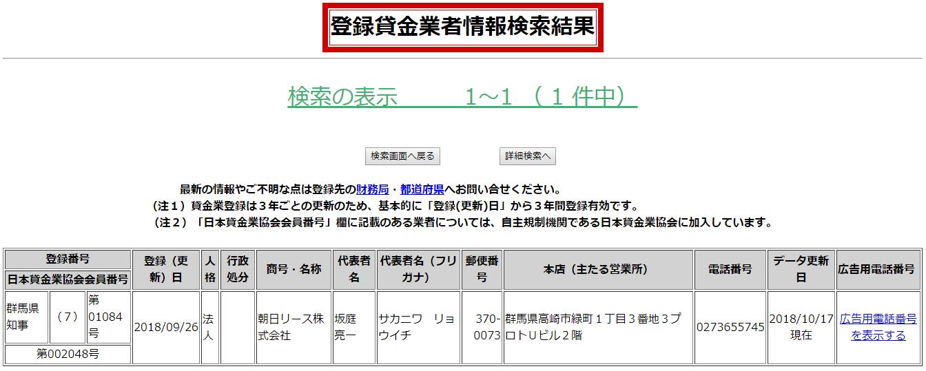 朝日リース株式会社の貸金業登録情報