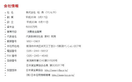 株式会社松寿の会社概要