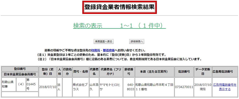 株式会社プラスの貸金業登録情報