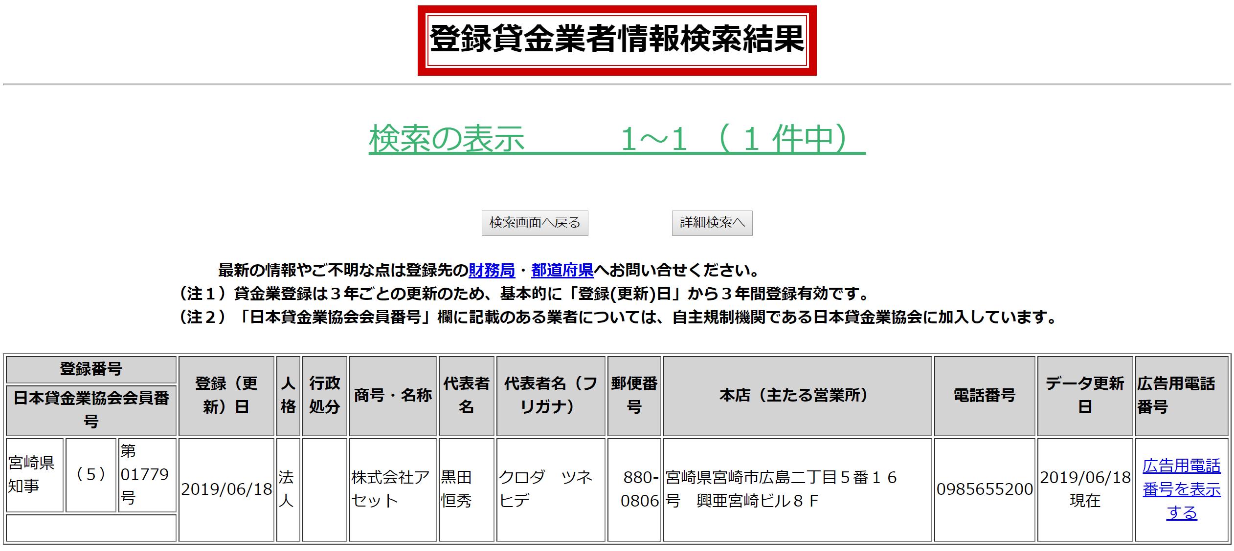 株式会社アセットの貸金業登録情報