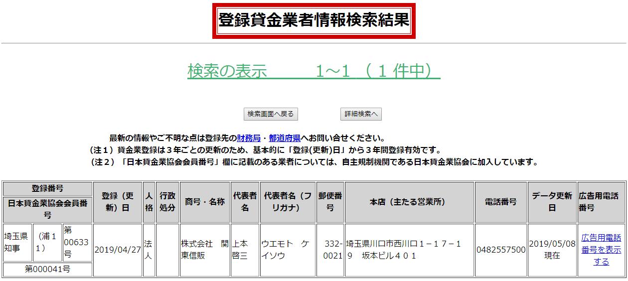 関東信販の貸金業登録情報