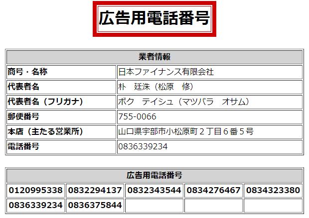 日本ファイナンスの広告用電話番号一覧