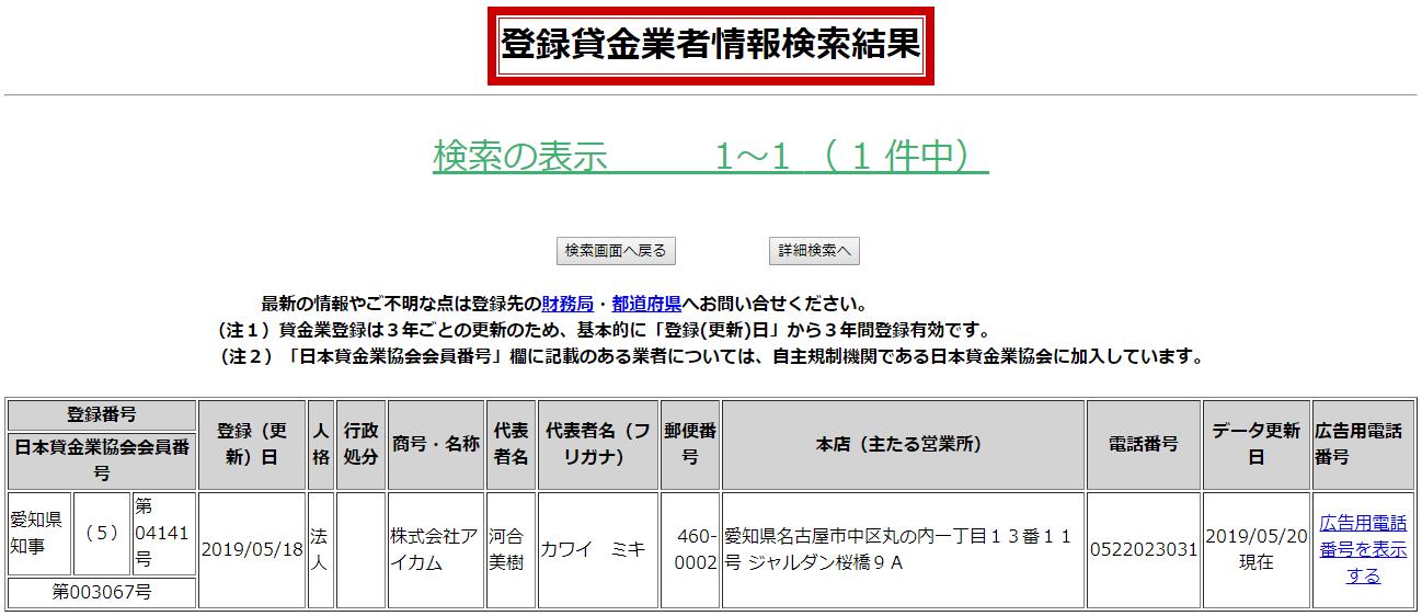 株式会社アイカムの貸金業登録情報