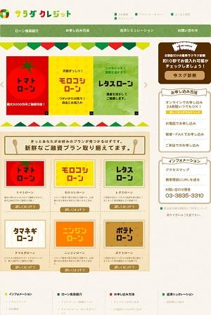 サラダクレジットのホームページ画像