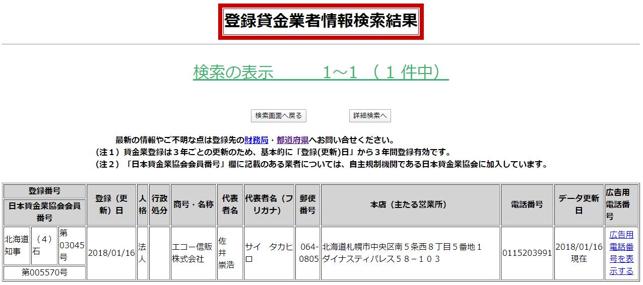 エコー信販株式会社の貸金業登録情報