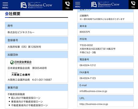ビジネスクルーの会社概要ページ