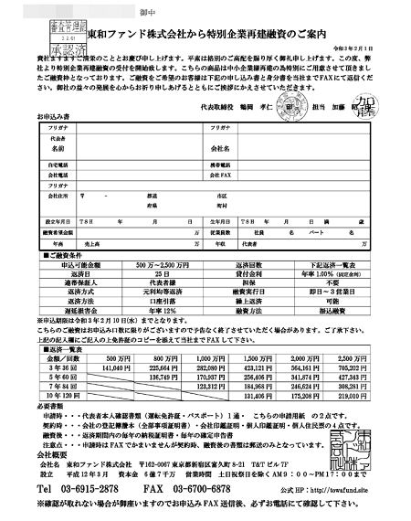 東和ファンド株式会社からのFAX